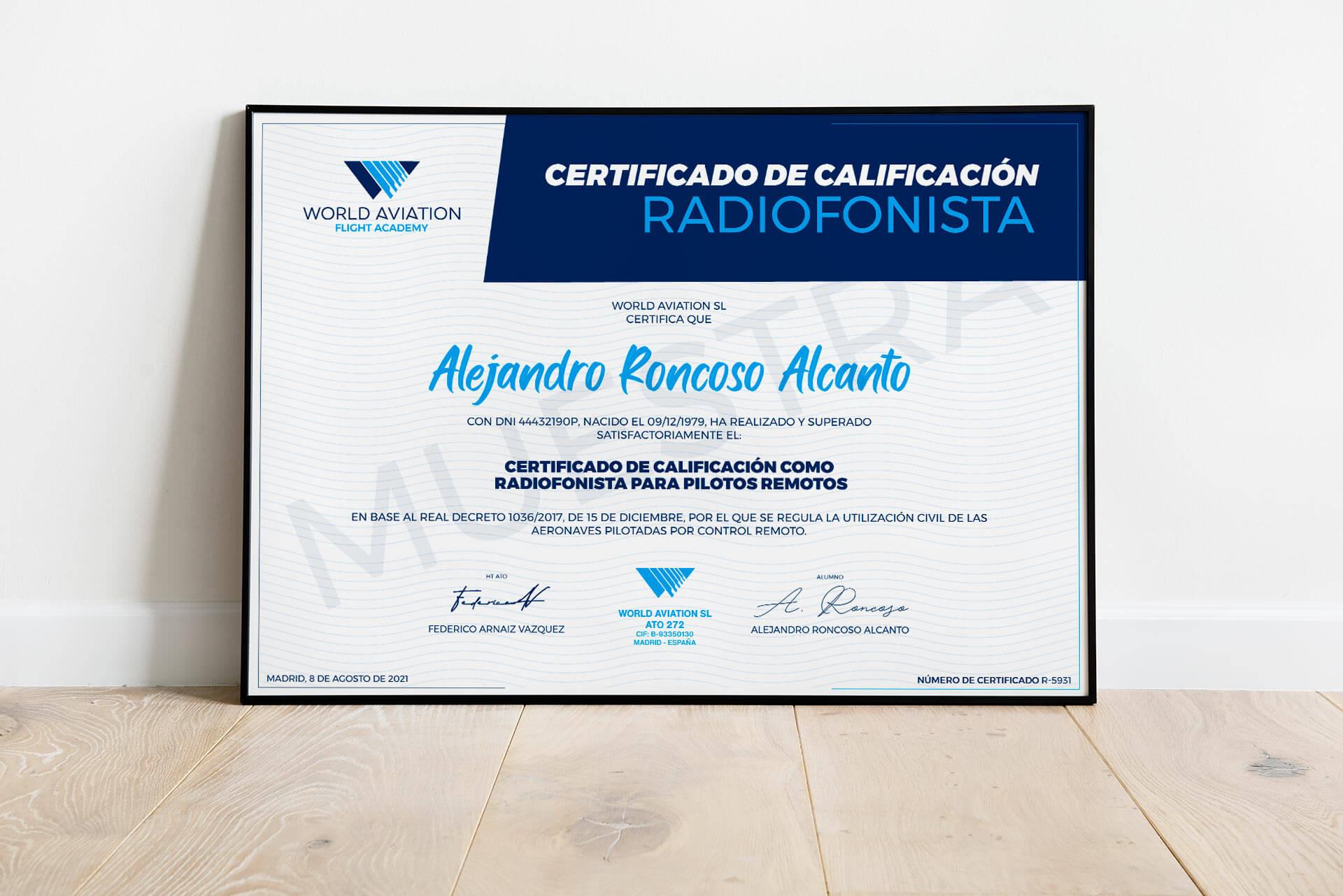 Certificado oficial de radiofonista profesional para drones AESA